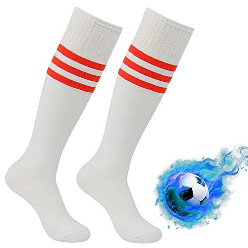 Tube Socks Stripe, Atrest Unisex Triple Stripe Football Soccer Baseball Compression Socks Knee High Performance Cheerleader Costume Socks White+Red Stripe 2 Pairs -