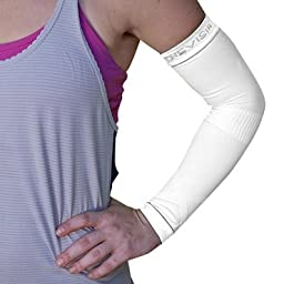Compression Arm Sleeves – BeVisible Sports – Best Support For Men Women and Youth - 1 Pair – For Prime Members – (White, Small/Medium)