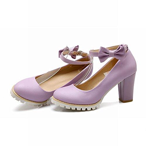 MissSaSa Damen Chunky heel Plateau Schleife Knöchelriemchen Pumps elegant und modern high-heel Schnalle Kleidschuhe Violett