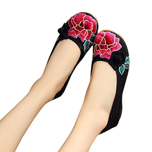 Chaussures Rose Flats Beijing Floral Broderie Noir Vieux Bout Femmes Marche Yefree Rouge De Rond Ip5qw1zYW