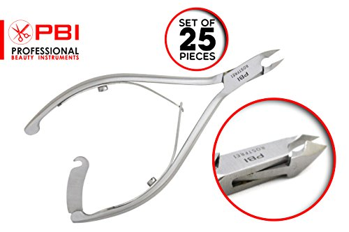 Professional Cuticle nipper - cuticle plier - manicure pedicure cuticle nipper - double spring cuticles plier - 4.6 inch - 25 pieces set - Stainless steel from PBI by PBI professional beauty instruments