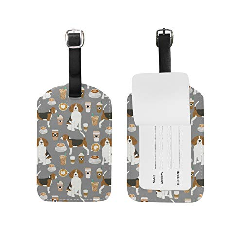 Travel Beagle Dog Gray (2) Leather Luggage Tags with Black Strap, Set of 1
