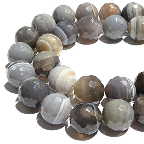 [ABCgems] Rare Botswana Agate (Beautiful Matrix- Grade AA) 14mm Faceted Round Beads for Beading & Jewelry ()