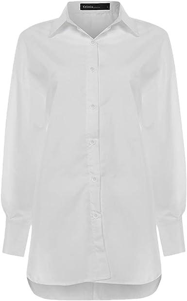 Camisa Blanca de Mujer, Blusas sólidas Informales de Solapa ...