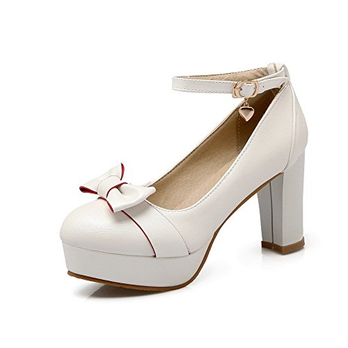 Haut Rond Agoolar Blanc Unie Légeres Talon Matière À Mélangee Boucle Chaussures Couleur Femme qwC1OY