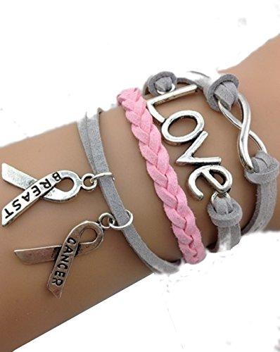 Bracelet gris et rose lutte contre le cancer. Love. ruban breast