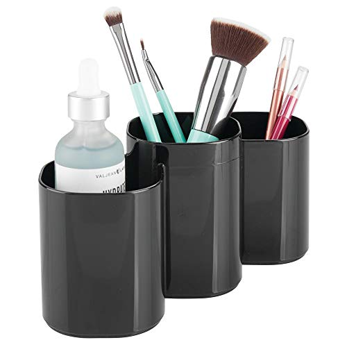 mDesign Plastic Makeup Organizer Cup for Bathroom Vanity Countertop or Cabinet to Hold Brushes, Lipstick, Mascara, Brow Pencils, Eye Liners, Tweezers, Beauty Products, 3 Divided Compartments - Black