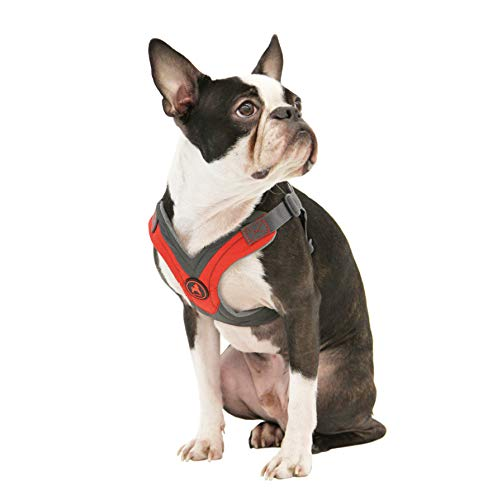 (Gooby - Trekking Harness, Small Dog Fleece Lined Harness with Memory Foam Padding, Red, X-Small)