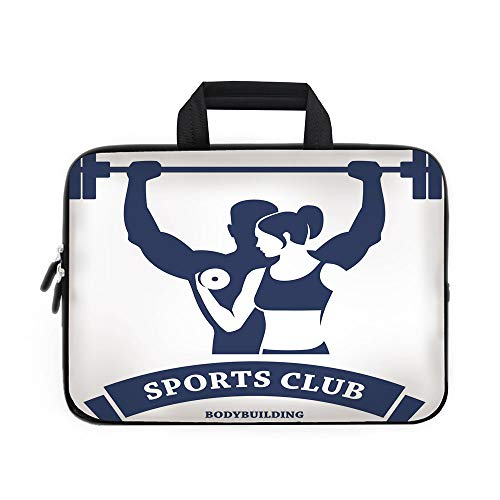 (Fitness Laptop Carrying Bag Sleeve,Neoprene Sleeve Case/Sports Bodybuilders Club Man and Woman with Dumbbells Muscles Biceps Form Decorative/for Apple Macbook Air Samsung Google Acer HP DELL Lenovo As)