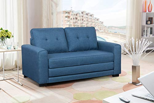 US Pride Furniture Daisy Modern Fabric Loveseat and Sofa Bed, Blue (Sofa Blue Bed)