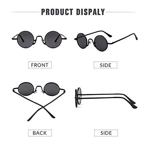 Street Redondo Hombres Mujeres ADEWU Style fino con Vintage sol de ovaladas Lente metal de Marco 1 Negro Gris borde Gafas Eyewear 1W6qZpX