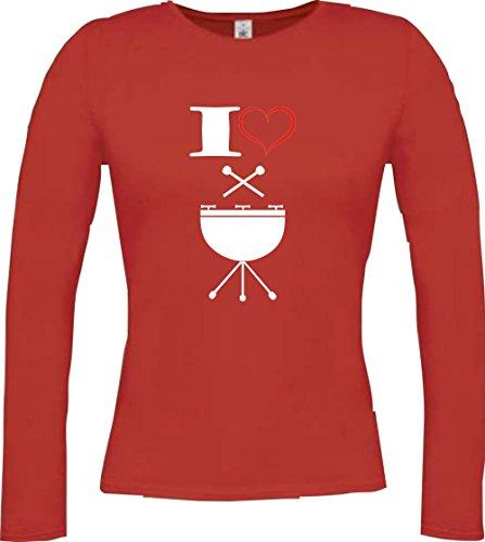 Shirtstown - Camiseta de manga larga - Manga Larga - para mujer Rojo