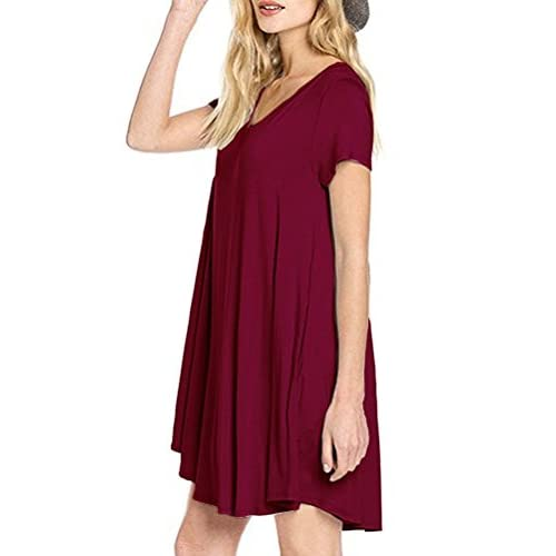 56afb1c68f922 MOLERANI Women s Casual Plain Simple Pocket T-shirt Loose Dress good ...