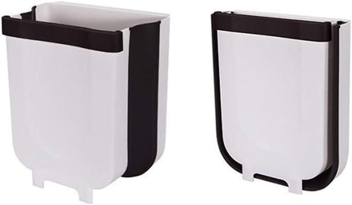 QDY Contenedor de Basura Plegable montado en la Pared pequeño Cubo de Basura Compacto para Puerta de gabinete de Cocina, baño, Mesa de Comedor, automóvil - 8L (Blanco, 1)