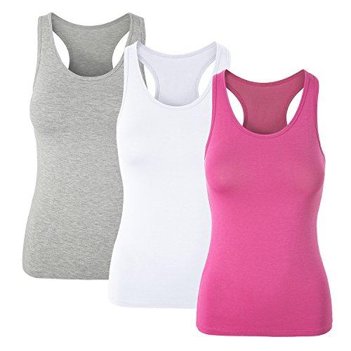 Mujer Camisetas Básicas sin Mangas Camiseta con Sujetador Incorporado Negro Gris Fuscia Rosa Azul: Amazon.es: Ropa y accesorios