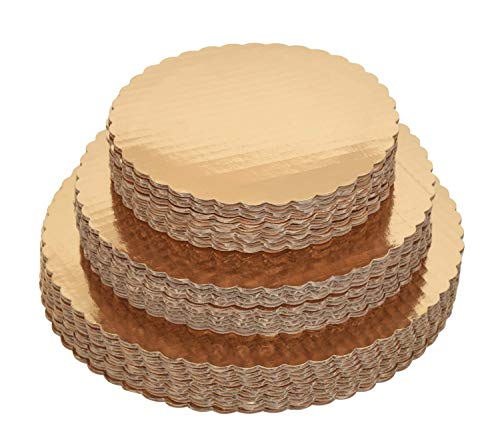 30 Gold Round Cake Boards - 10 Each (8, 10, 12 Inch) - Sturdy, Stackable, Cardboard Cake Circles/Bases