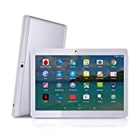 """Android Tablet with SIM Card Slot Unlocked 10 inch - YELLYOUTH 10.1"""" IPS Screen Octa Core 4GB RAM 64GB ROM 3G Phablet with WiFi GPS Bluetooth Tablets - White with Silver"""