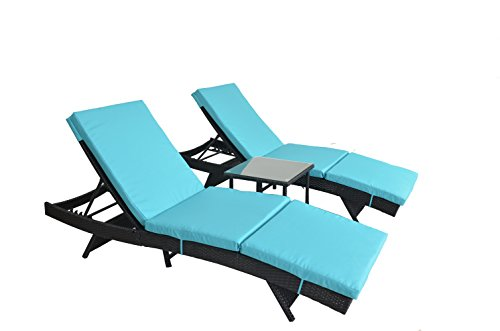JETIME Patio Chaise Lounge 3Pcs Black Wicker Lounger Adjustable Daybed Garden Lounger Set Backyard Pool Rattan Chaise Turquoise Cushionwith Side Coffee ()