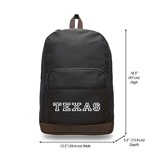 Texas Canvas Teardrop Backpack with Leather Bottom Black