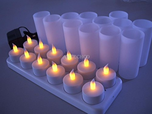 - Rechargeable LED Candle TeaLight (Set of 12) - Flameless LED Candle Lights - Flickering Amber,Battery Operated/Powered Candles,No Wax No Mess, No Fire Risk, Windproof, Portable【ARTECHCO】