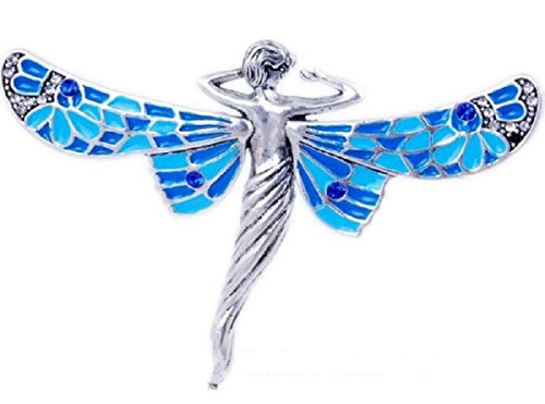 Stunning Winged GODDESS Blue Art Deco Look 18