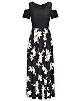 STYLEWORD Women's Summer Cold Shoulder Floral Print Elegant Maxi Long Dress with Pocket