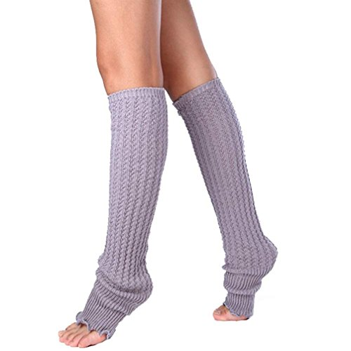 Long Knitted Leg Warmers Socks,Hemlock Womens Boot Cuffs Lace Patchwork Leggings Socks (Grey)
