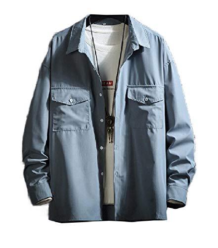 AngelSpace Mens Solid Big Pockets Turn Down Collar Jacket Coats Overcoat