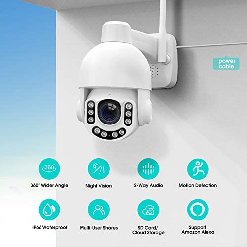 Netvue Security Camera Outdoor, 2k 3MP IP Camera, Pan/Tilt/8X Zoom, H.265, 360° View, 2.4G Wi-Fi Wireless Camera with Alexa, 2-Way Audio, Clear Night Vision, Weatherproof and Motion Detection