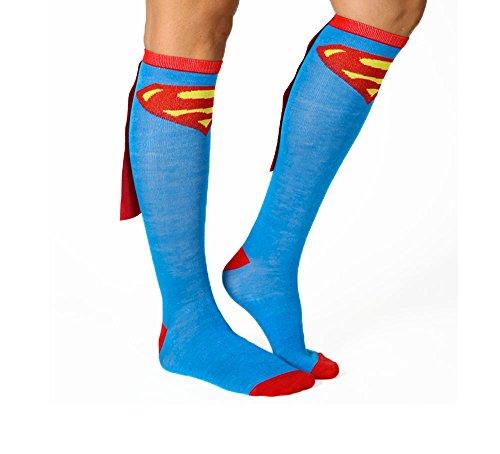 Bioworld Superman Blue Adult Knee High Cape Sock, One -