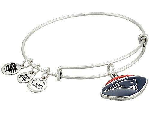 Alex and Ani Women's Color Infusion New England Patriots Football II EWB Bracelet, Rafaelian Silver ()