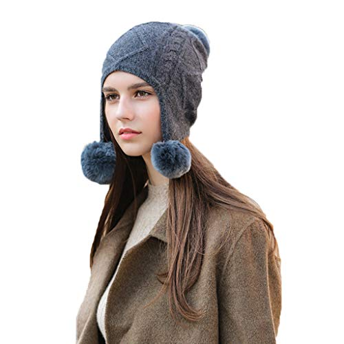 Cold Weather Headbands Hair Ball hat Female Winter hat Knitted Wool hat Warm Thick hat Japanese Wild hat Cashmere hat Baotou Ear Cap (Color : Dark Gray, Size : 2321cm)