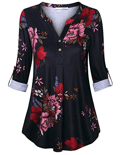 - Messic Flower Shirt for Women, Tunics for Women for Leggings Plus Size Henley V Neck Tunics Shirt 3/4 Sleeve Pleated Front Button Blouses Tops for Casual Office Work Black Red XXL