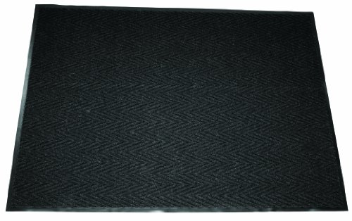 Durable Vinyl Chevron Rib Indoor Entrance Mat,  3' x 6', Charcoal