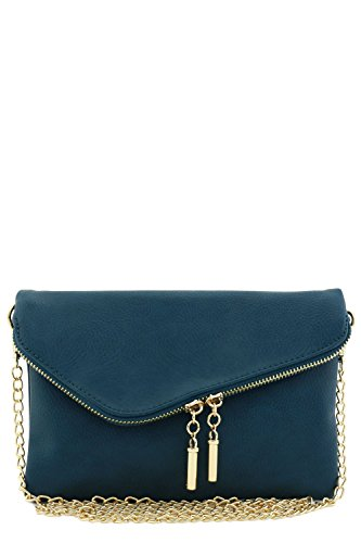 Envelope Wristlet Clutch Crossbody Bag with Chain Strap (Teal)