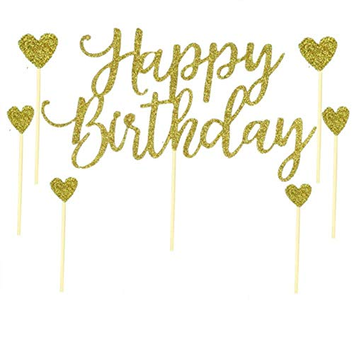 Happy Birthday Cake Topper, With 6 Love Star toppers, 1st First Happy Birthday Cupcake Topper, Glitter Gold Decorations -