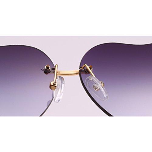 Avec Grey Lunettes Femme Soleil Sans Womens Qualité Métal Zhhlinyuan de de Monture Forme Armature Cas Sunglasses Coeur en Plage Mince Des Fille BgwtUx