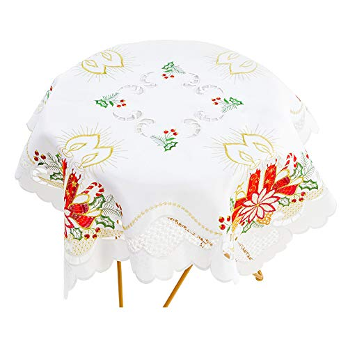 (Bone & Tissue Christmas Embroidered Tablecloth, Lace Christmas Poinsettia and Candle Embroidery Table Cover for Balcony Afternoon Tea, Cafe & Wedding Decor, Square 34 x 34)