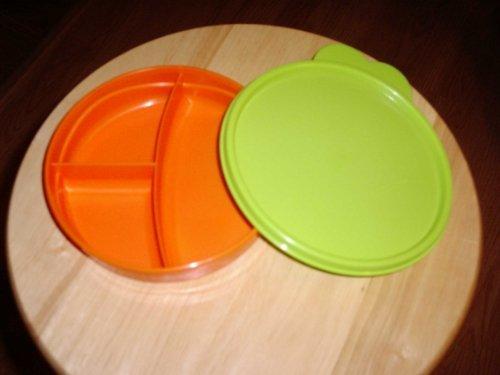 Tupperware Kids Divided Plate Orange W/green Seal & Handle
