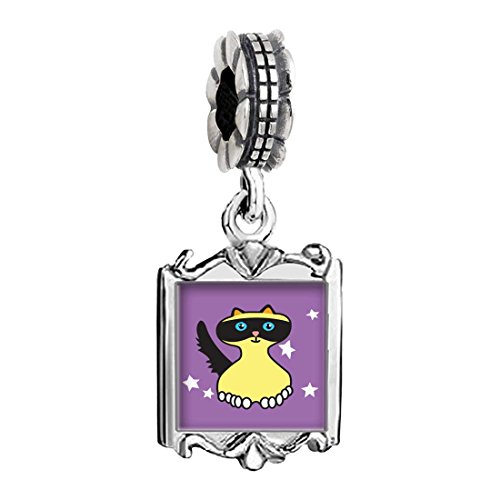 GiftJewelryShop Silver Plated Birman Cat Photo Family Mom & Baby Girl & Dad Dangle Bead Charm Bracelet