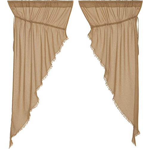 Nancy's Nook Tobacco Cloth Khaki Prairie Curtain Fringed