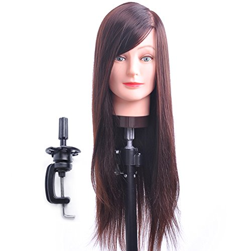 Hairdresser Training Head Manikin Cosmetology Mannequin Doll Synthetic Fiber Hair Head (Table Clamp Holder Included) SC0418S