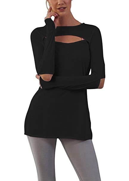 e84dfb33a5c3ec Bestisun Women s Workout Yoga Long Sleeve T-Shirts with Thumb Holes Open  Elbow Active Shirts