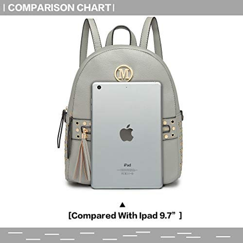 Studded Women Handle Miss Lulu Grab Leather hole Fashion Grey detail Pu front Pouch Backpack Bag Shoulder Logo M Zipper with Handbags nwwFqYEg