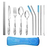 Teivio Camping Outdoor Utensils Cutlery Flatware Set of Military Grade Stainless Steel Fork, Spoon, Tea Spoon, Knife, Chopstick, Stainless Steel Metal Straws with Silicone Tips and Brush (Blue)
