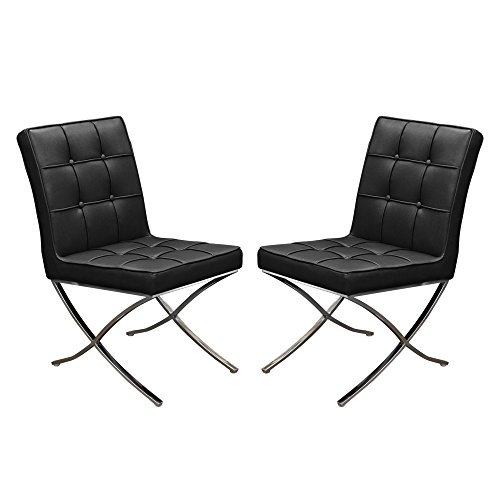 Set of (2) Cordoba Tufted Dining Chair w/ Stainless Steel Frame by Diamond Sofa - Black - # CORDOBADCBL2PK