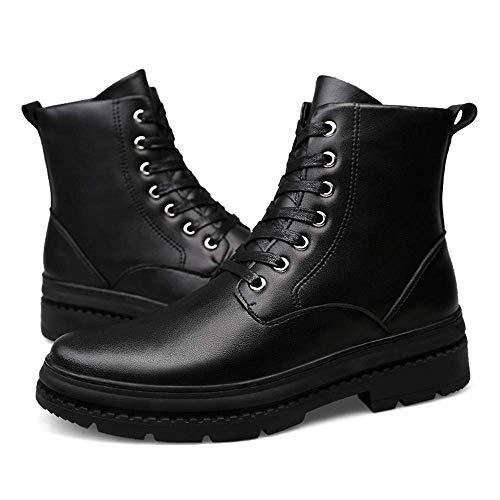 Hombre warm Negro Top Botines Redondo 43 Fuweiencore 46 Velvet Negro Eu Casual Higt Genuino Cordones Tamaño Boots Cuero Opcional Suave Tamaño color Martin color Para ESpwCwq