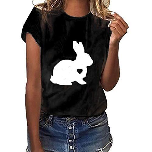 (Balakie Womens Summer Tops, Rabbit & Heart Print Short Sleeve O Neck T-Shirt Blouse(Black,Tag Size S= US 4))