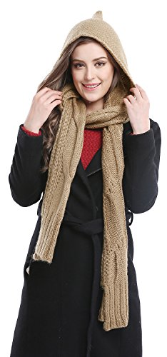 - Bellady Winter Knit Hooded Scarf Pullover Headscarf Hoodie Hat,Camel