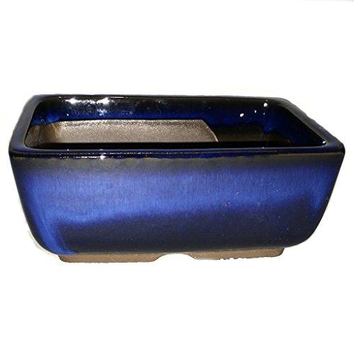 Bonsai Pot Ceramic Rectangle Round shaped corners Blue Glazed (4.75